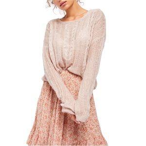 Free People NEW Light Pink Lightweight Sweater NWT